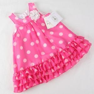 Girl 2T Pink White Polka Dot Ruffle Dress w/flower